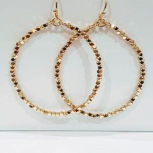 Gold-Tone Drop Dangle Hoop Earrings